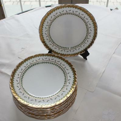 HTF Set of 11 Mintons for Davis Collamore Dinner Plates w/ Gold Encrusted Trim