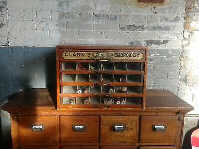 Clarks Spool Cabinet Multi Drawer Sewing Embroidery Antique Oak Country Store