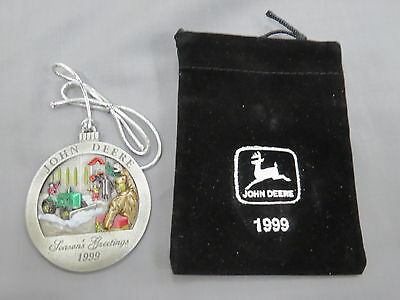 John Deere 1999 Pewter Ornament Model M Tractor New in Package Christmas