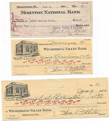 Three Mohnton, Pa., Berks Co. bank checks...1917, 1942, 1943