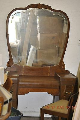 Walnut Waterfall Vintage Inlaid Antique Vanity & Mirror Step Down LOCAL PICK UP!