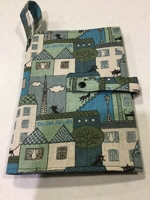 Baby Nappy Wallet--Black Cats On Roof Tops--Blue, Handmade, New