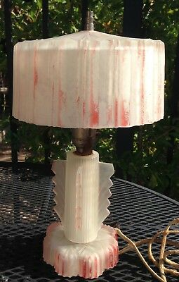 Antique Art Deco Satin Glass Lamp with Glass Shade