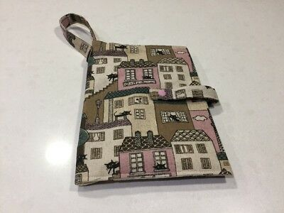 Baby Nappy Wallet, Black Cats On Roof Tops, Pink, Handmade, New