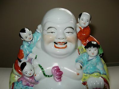 Vintage Chinese Porcelain Buddha with Children figurine Later 19th C. Early 20 C