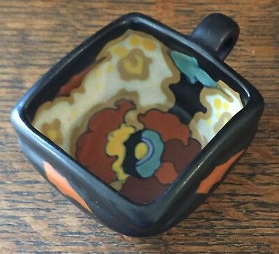 "Vintage Regina Lydia Gouda Cup w/ Handle, 1 1/4"" Tall - Black, Orange, & Yellow"