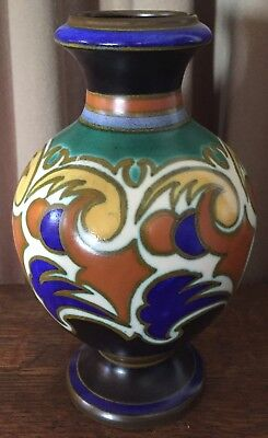 "Vintage 1928 Atol Gouda 8 1/2"" Large Vase - Matte Brown, Cobalt, Orange, & Aqua"