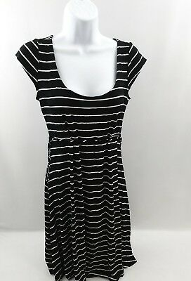 Motherhood Maternity pregnant Womens size small black white striped dress Knee