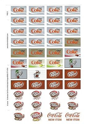 Coke Coca Cola Advertising Stickers  Sheet Of 44  Diet Barg's Dr Pepper New Item