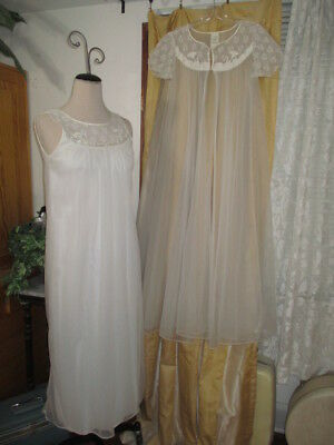 "VTG Double Chiffon Sissy Peignoir Nightgown Robe Movie Star Sweep to 180"" M-L"
