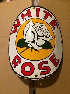 White Rose Porcelain Gas Pump Sign Shell Gulf Standard Oil Antique Visible