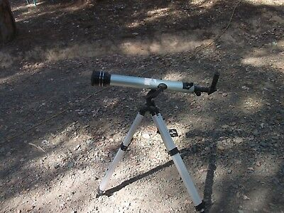 telescope on aliminium alloy metal tripod stand adjustable height star gazer old