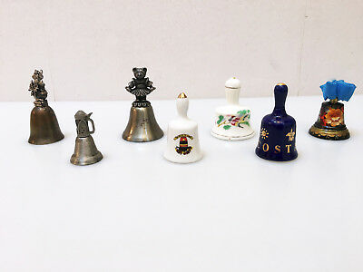 7 Miniature Collectable Bells - 3 Pewter - Costa Rica - Key West - Hand Painted