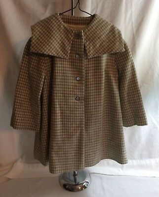 Vintage Handmade Child's Wool Coat Lined Gray Plaid Excellent