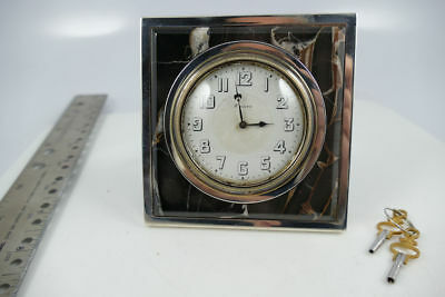 Antique Tiffany & Co. Sterling Silver Marble Desk Clock .925