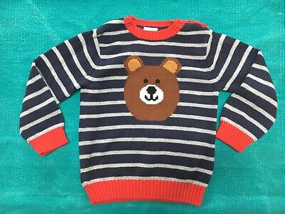 Hanna Andersson NWOT Boy's Striped Teddy Bear Cotton Sweater Size 90 3T