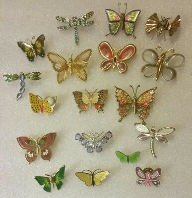 VINTAGE Lot of 18 BUTTERFLY & DRAGONFLY Brooches Pins Enamel RHINESTONE Metal