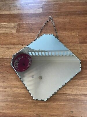 Retro Vintage Scalloped Edge Wall Hanging Bevelled Mirror