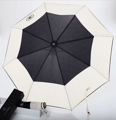 NEW Automatic Umbrella Chanel VIP Gift Beige/Black With Quilted Carry Bag + Pen