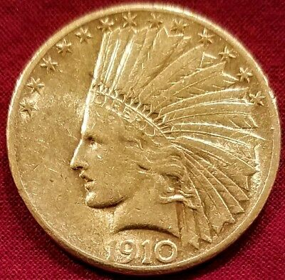 1910 S $10 Indian Eagle Us 10 Dollar Gold Coin