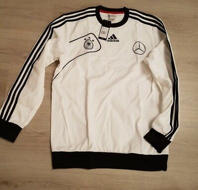 Adidas - DFB Herren Trainings Sweatshirt Gr.4 weiß mit Sponsoren Aufdruck