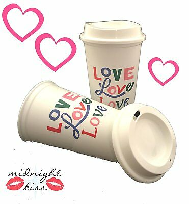 Starbucks Valentine Love Cups Reusable Recyclable Travel 2018, 2 Cups Set