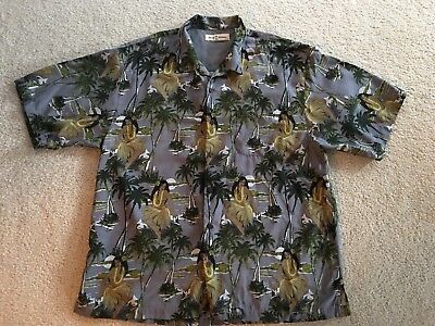 4ed4be74 Gray Tommy Bahama Men'S Hawaiian Aloha Shirt Size Xl Hula Girl Print 100%  Silk