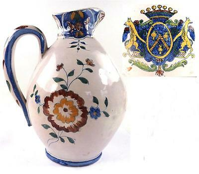 Antique Or Vintage French Faience Pitcher Jug With Armorial Crest