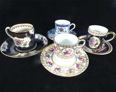 Four Antique / Vintage Demitasse Coffee Cups & Saucers Booths Aynsley + More
