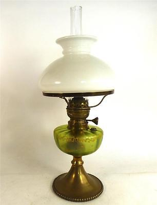 Antique Art Nouveau Brass Oil Lamp Green Glass Font Matador Burner With Shade