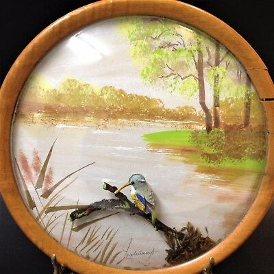 Stunning Vintage - Framed Convex Glass Diorama - Kingfisher & Handpainted Scene