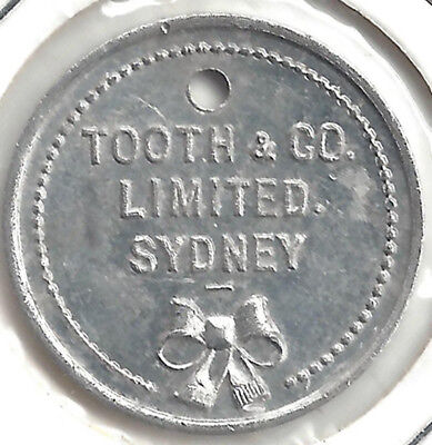 Tooth & Co Limited Sydney 2/- Shilling Deposit Value Stated Token Alum 24 mm App