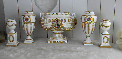 German Heubach marked porcelain napoleon Vases centerpiece set ram heads