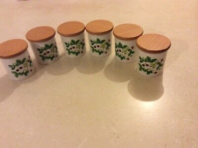 PORTMEIRION SET OF SIX SPICE CANISTERS / STORAGE JARS in SUMMER STRAWBERRIES