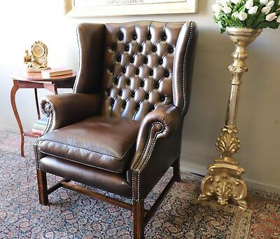 Stunning Cigar Tan Brown Chesterfield Grandfather Armchair Lounge Wing Chair