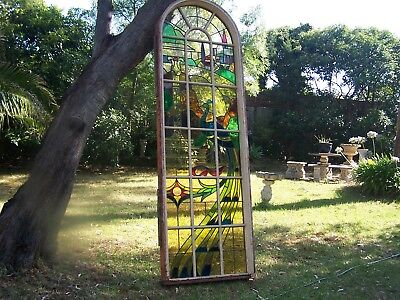 Vintage Leadlight Arched Window Peacock & Tuscan Garden Very Large