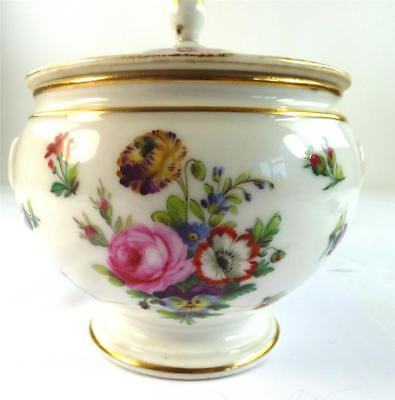 Antique French Old Paris Porcelain Lidded Sugar Bowl Hand Painted With Flowers