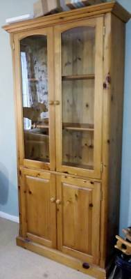 Tall Antique Pine 4 Door Dresser Display Cabinet Cupboard Wall Unit