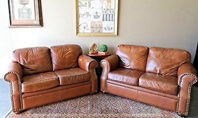 Pair Of Cigar Tan Brown Distressed 2 Seat Chesterfield Sofa Couch Lounge Suite
