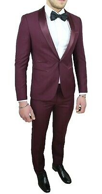 Elegante Abito Uomo Bordeaux In Raso Completo Smoking Tight Slim Fit Aderente