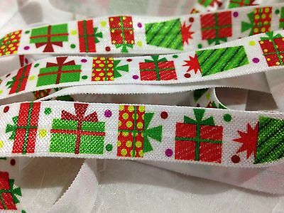 "1m/5m Christmas Presents on White FOE 5/8"" Fold Over Elastic Head Band DIY"