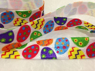 "1m/5m Easter Eggs on White FOE 5/8"" Fold Over Elastic Head Band Hairties"