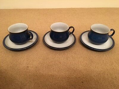 3x Teacup 4x Saucer Denby Imperial Blue China Crockery