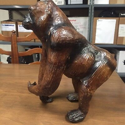 Vintage Genuine Leather Gorilla Figurine Statue Kong  AWESOME!!! Free Shipping