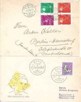 Switzerland 1952 – 5 covers (2x FDC) 2 scans