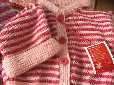 Baby cardigan Hand knitted new  sz 000-00 Pink acrylic