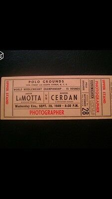 Ticket Combat Boxe/Boxing Marcel Cerdan Vs Lamotta Ticket Original