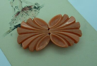Vintage Plastic belt Buckle~Peach/Coral~ 2 Piece~
