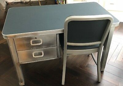 Stainless Steel Metal Desk and chair   Height 68cm x Width 108Cm X Depth 61cm