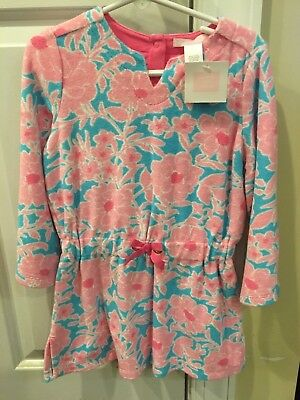 NWT Janie and Jack terry cloth floral pool dress cover up size 3 pink and blue